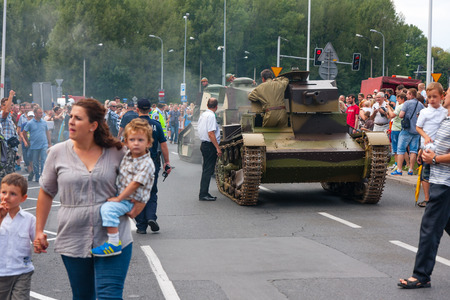 Old Tanks parade during the Polish Armed Forces Day. WARSAW, POLAND - AUGUST 15, 2014 Editorial