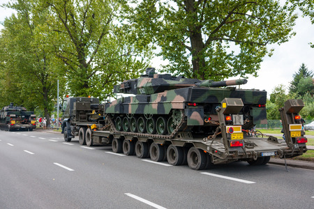 convoy: Leopard 2 tanks transport convoy. WARSAW, POLAND - AUGUST 15, 2014 Editorial