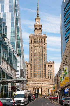 Warsaw streets architecture, view at the Palace of Culture and Science
