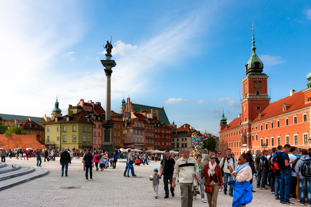 Castle Square tourists, Warsaw City, Poland Editorial