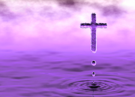 Holy Cross, christian symbol of Holy Water in violet clouds