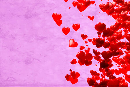 Red Hearts, pink background photo