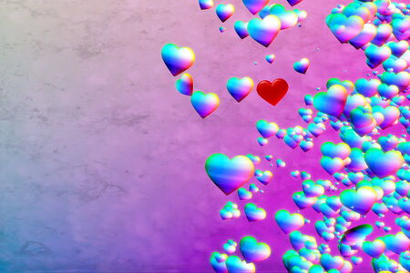 Rainbow Hearts, pink blue background Stock Photo