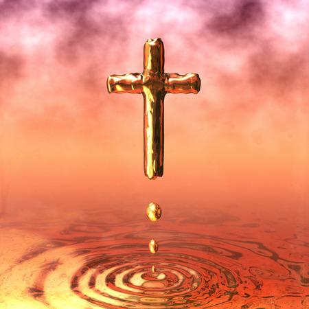 Golden Cross, Holy Cross of Gold Stock Photo