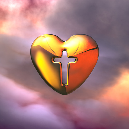 Holy Cross in the golden Heart Stock Photo