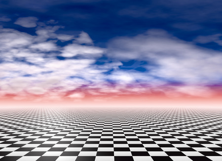 Checkered floor, sky and clouds background Stock Photo