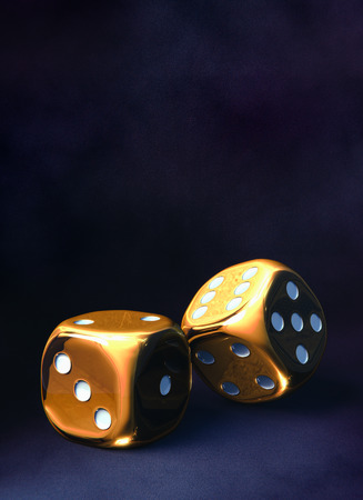 Gold dice background Stock Photo