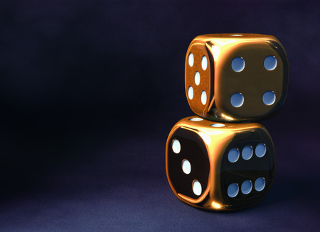 Golden dice, dark violet background Stock Photo