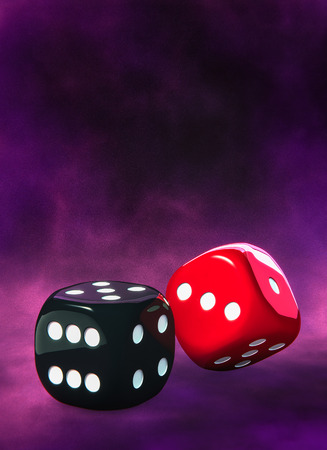 Black red dice. White dots Stock Photo