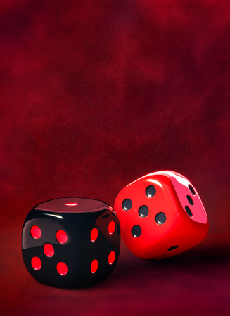 Two black and red dice