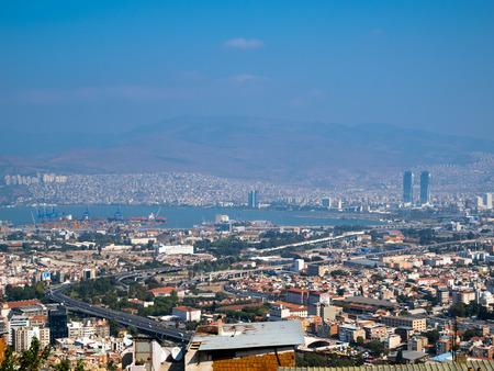 Birds eye view of the Izmir and Izmir Port