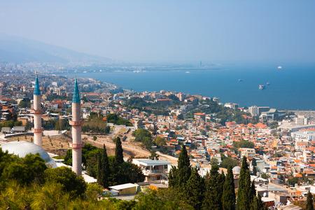 birds eye: South side of Izmir and Kadifekale Camii, mosque. Birds eye view
