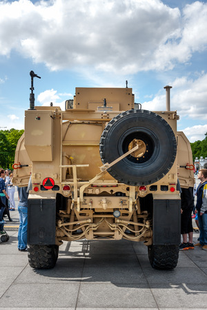 Rear view of mine resistant ambush protected Oshkosh MATV Editorial