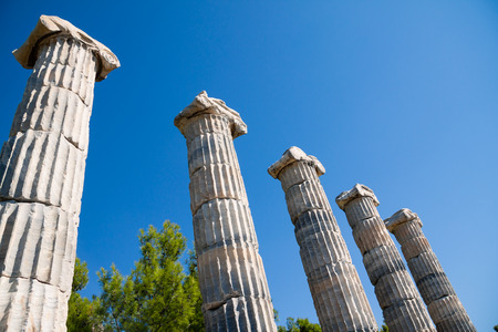 ionic: Priene Turkey. Ionic columns in Temple of Athena Stock Photo