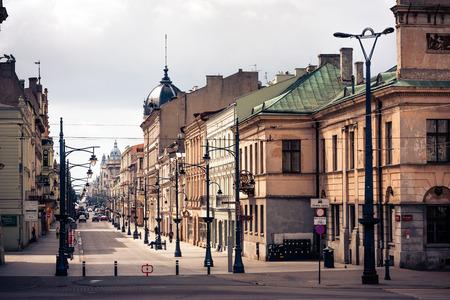 Piotrkowska Street Lodz City stylized filtered photo