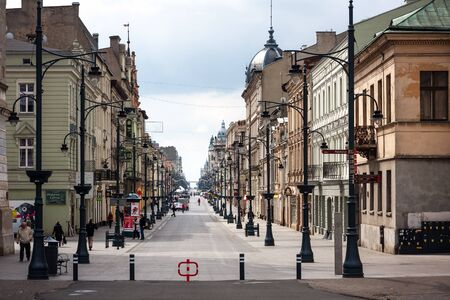Piotrkowska Street seen from Liberty Square. Lodz City Editorial