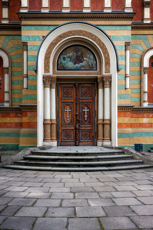 nevsky: Arched door to Cathedral of Alexander Nevsky in Lodz Poland