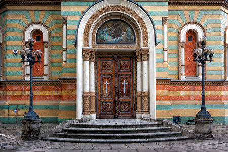 Lodz Cathedral door. Alexander Nevsky Orthodox Church Poland Stock Photo - 40907587
