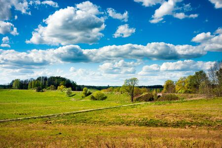 warmia: Polish countryside fields and roads Stock Photo