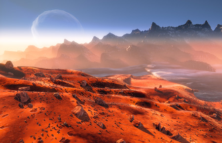 Mars - martian landscape and Phobos moon over mountains.  Mist and rocks
