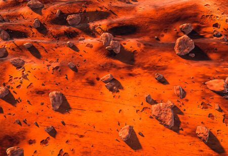 Red Martian surface - scattered rocks and boulders