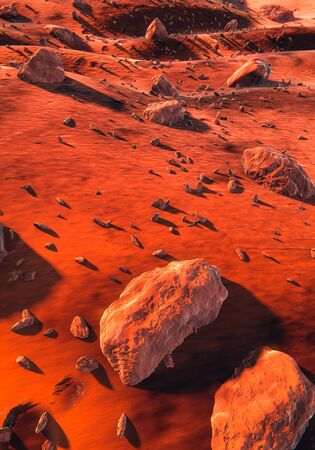 Mars - red dry sand and large basalt rocks