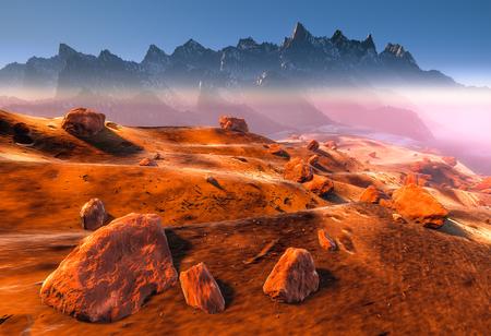 meteo: Mars - dune a secco e le rocce del paesaggio marziano rosso. Nebbia, polvere e le montagne