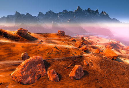 Mars - dry dunes and rocks of the red martian landscape. Fog, dust and mountains