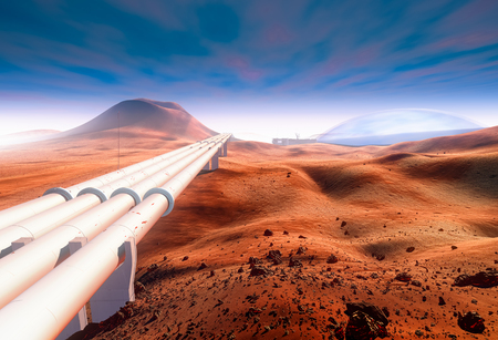 Martian pipeline. Red Mars Stock Photo