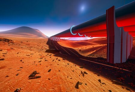 Pipeline on Mars. Red Martian landscape Stock Photo