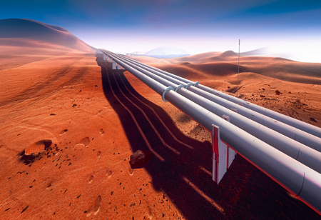 Mars, water supply pipeline 版權商用圖片 - 51637317