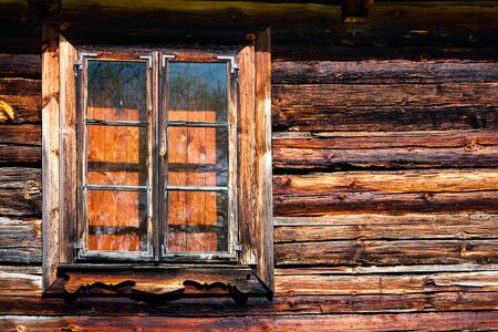 courtain: Closed wooden log window
