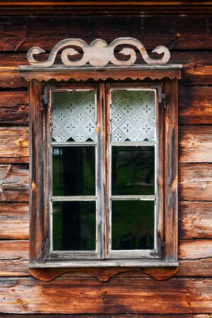 courtain: Rustic wooden window Stock Photo