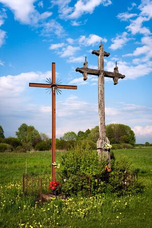 christian crosses: Christian Crosses in a field. Polish countryside