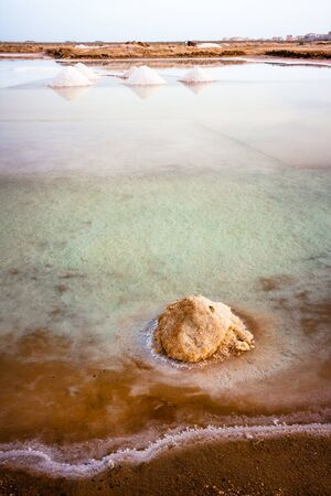 Salt ponds in Cape Verde, Sal Stock Photo