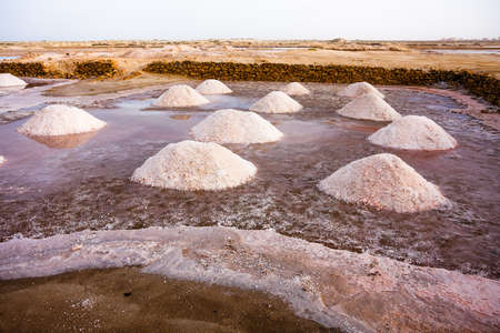 mineralogy: Salt mounds gathered in Cape Verde, Africa Stock Photo