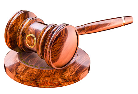constitutional: Wooden gavel in court of law Stock Photo