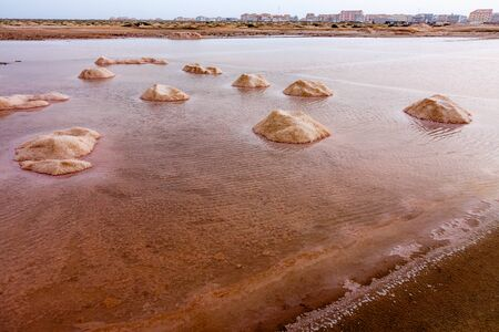 evaporation: Salt evaporation ponds and mounds, Sal Island in Cape Verde