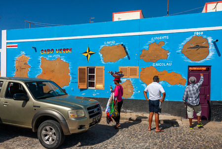 Map of Cabo Verde on a wall in Palmeira Town