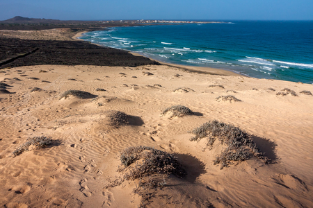Sand Dunes. View on the Baia das Gatas, Cabo Verde, Africa