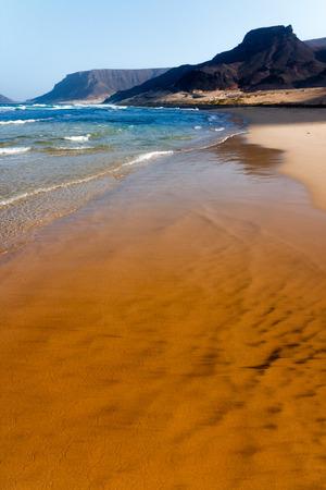 Beautiful beach, waves and mountains. Cabo Verde, Praia Grande