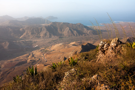 View from Monte Verde mountain near Mindelo,  Cape Verde Stock Photo
