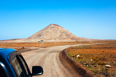 mountain landscape: Cape Verde desert roads. Near mountain Monte Leste