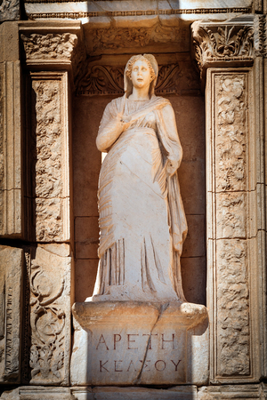 Statue of Arete (Apeth) in Library of Celsus, Ephesus Stock Photo - 64509770
