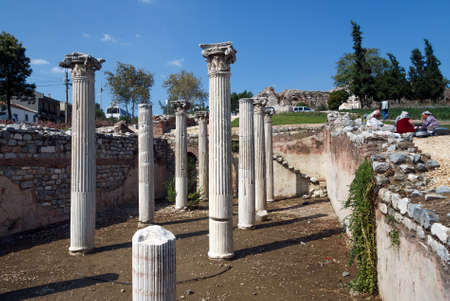 column: SELCUK, TURKEY - SEPTEMBER 29, 2014: Ancient columns revealed in the middle of Town