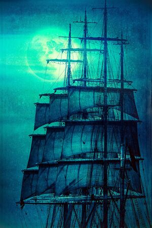 Tall ship sails against the Moon