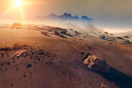 Planet Mars misty landscape
