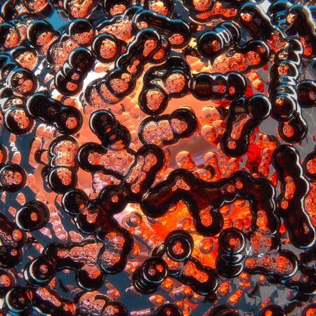 Glass bubbles in hot lava eruption, 3D illustration