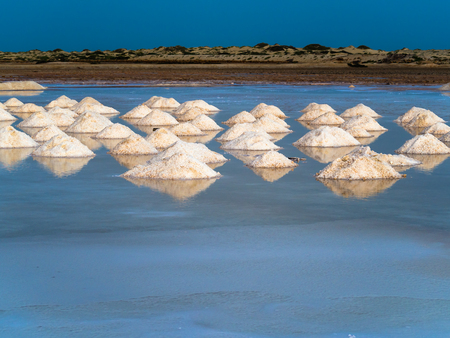 Salt crystals heaps in Cape Verde, Sal Island Stock Photo