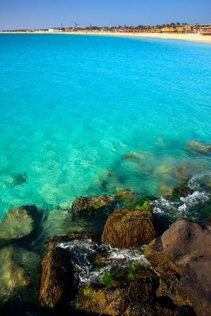 Turquoise water and large stones, Cape Verde Atlantic Ocean Stock Photo